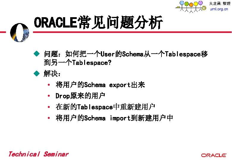 ORACLE常见问题分析 u 问题:如何把一个User的Schema从一个Tablespace移 到另一个Tablespace? u 解决: • 将用户的Schema export出来 • Drop原来的用户 • 在新的Tablespace中重新建用户 •