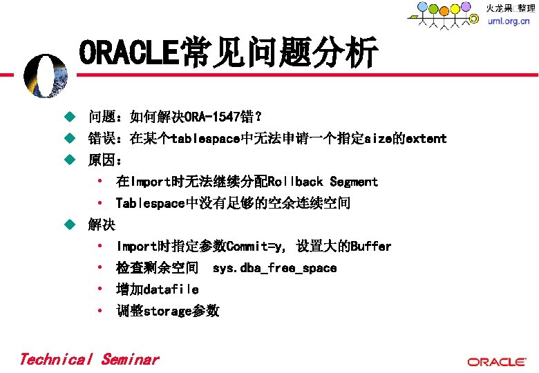 ORACLE常见问题分析 u 问题:如何解决ORA-1547错? u 错误:在某个tablespace中无法申请一个指定size的extent u 原因: • 在Import时无法继续分配Rollback Segment • Tablespace中没有足够的空余连续空间 u 解决