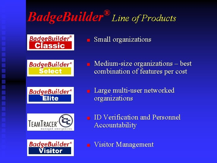 Badge. Builder n n ® Line of Products Small organizations Medium-size organizations – best