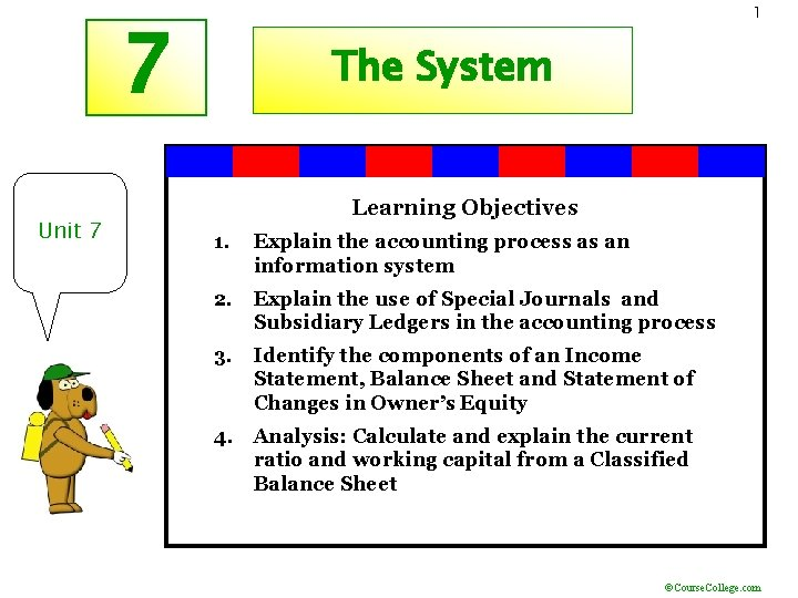 1 7 Unit 7 The System Learning Objectives 1. Explain the accounting process as