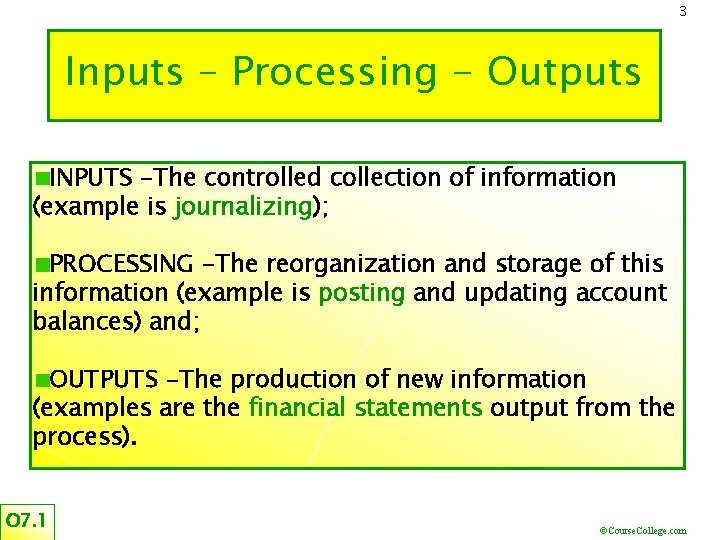 3 Inputs – Processing - Outputs INPUTS -The controlled collection of information (example is
