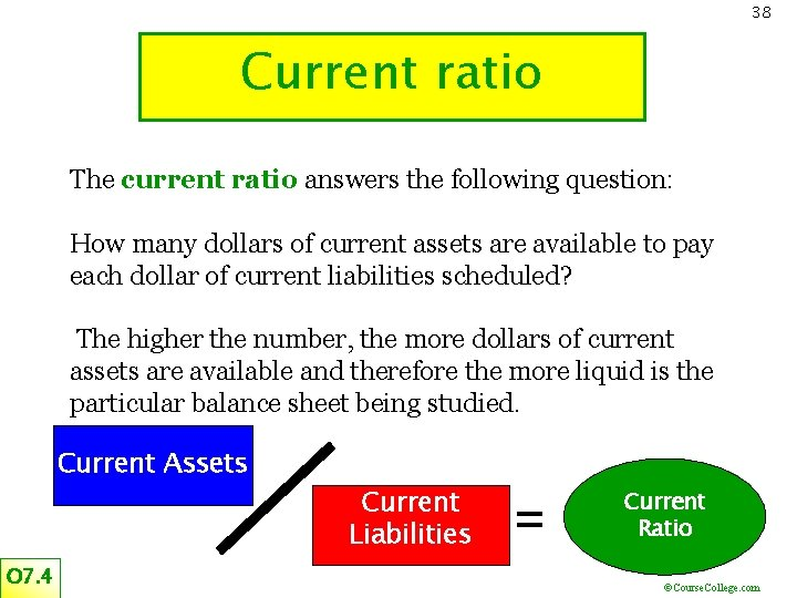 38 Current ratio The current ratio answers the following question: How many dollars of