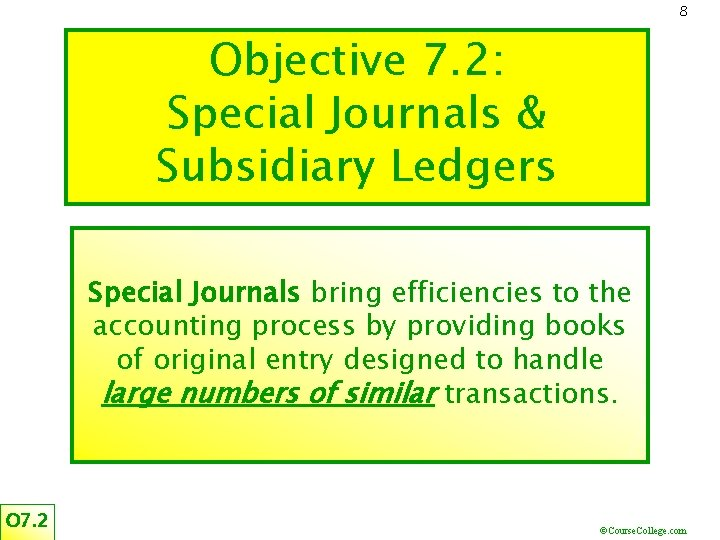 8 Objective 7. 2: Special Journals & Subsidiary Ledgers Special Journals bring efficiencies to