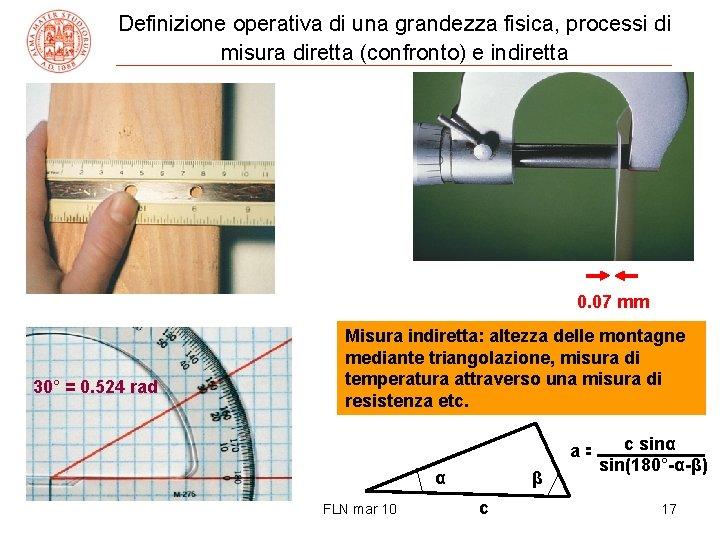 Definizione operativa di una grandezza fisica, processi di misura diretta (confronto) e indiretta 0.