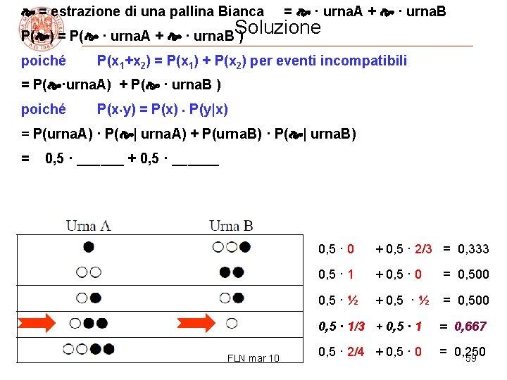 = estrazione di una pallina Bianca = · urna. A + · urna.