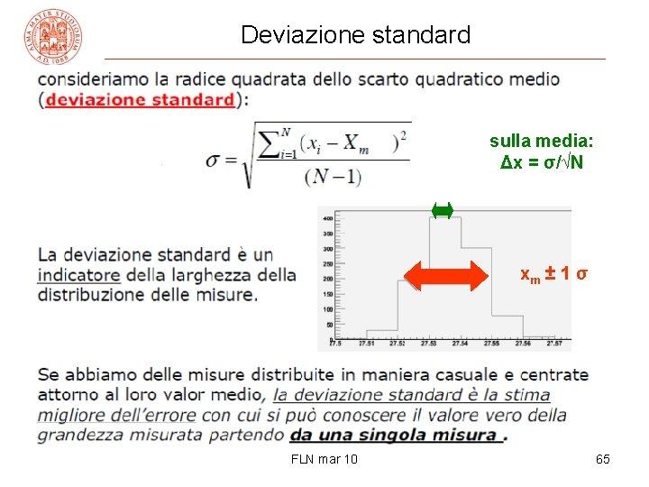 Deviazione standard sulla media: Δx = σ/√N xm ± 1 σ FLN mar 10