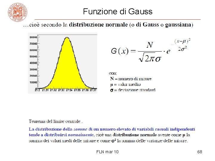 Funzione di Gauss G FLN mar 10 68