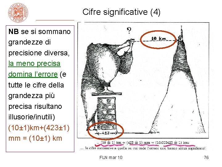 Cifre significative (4) NB se si sommano grandezze di precisione diversa, la meno precisa