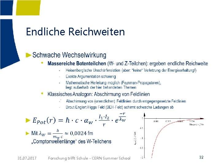 Endliche Reichweiten ► 31. 07. 2017 Forschung trifft Schule - CERN Summer School 32
