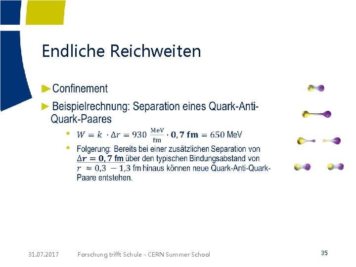 Endliche Reichweiten ► 31. 07. 2017 Forschung trifft Schule - CERN Summer School 35