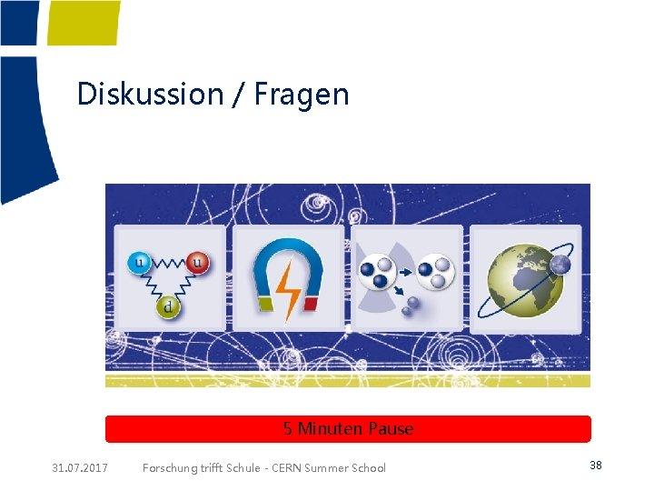 Diskussion / Fragen 5 Minuten Pause 31. 07. 2017 Forschung trifft Schule - CERN