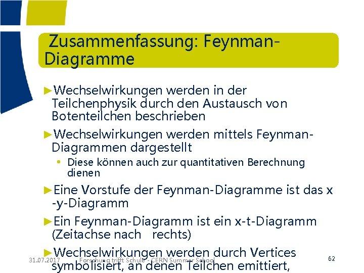 Zusammenfassung: Feynman. Diagramme ►Wechselwirkungen werden in der Teilchenphysik durch den Austausch von Botenteilchen