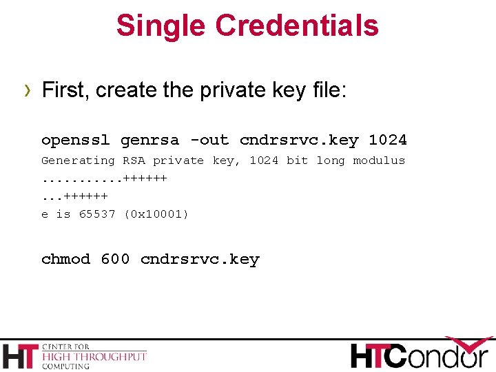 Single Credentials › First, create the private key file: openssl genrsa -out cndrsrvc. key
