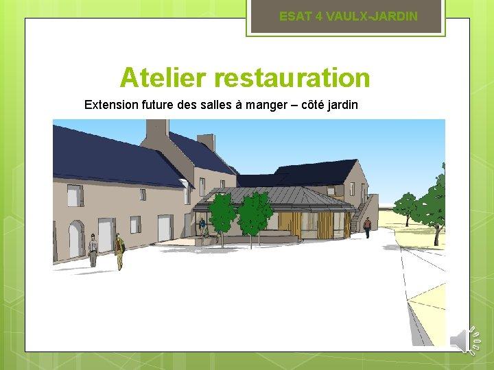ESAT 4 VAULX-JARDIN Atelier restauration Extension future des salles à manger – côté jardin