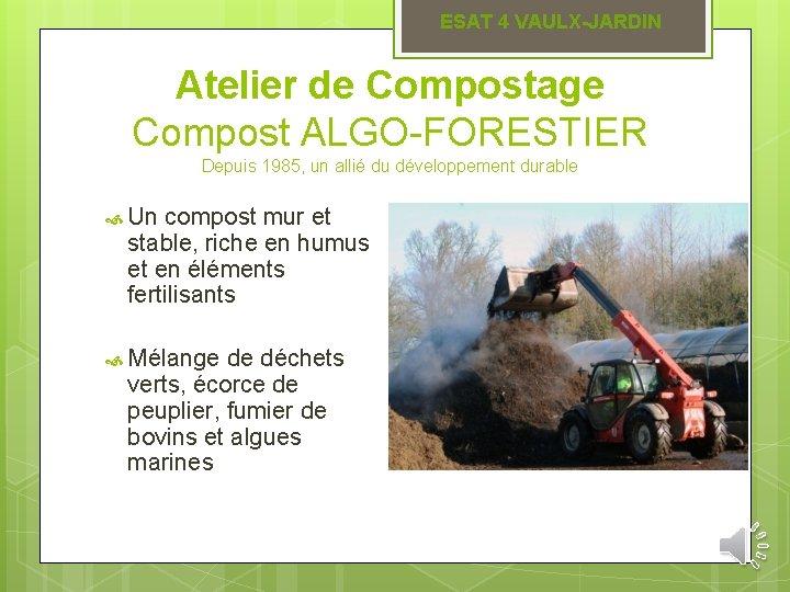 ESAT 4 VAULX-JARDIN Atelier de Compostage Compost ALGO-FORESTIER Depuis 1985, un allié du développement