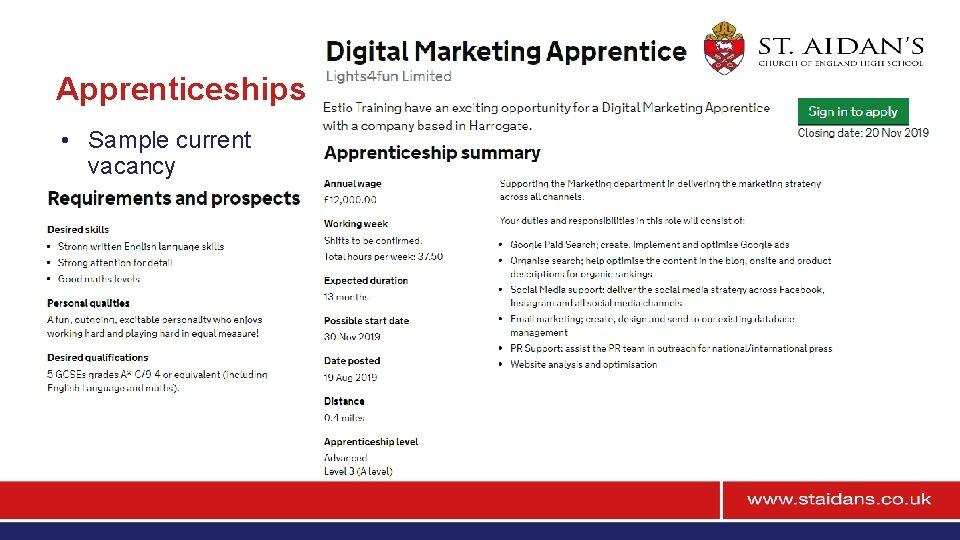 Apprenticeships • Sample current vacancy