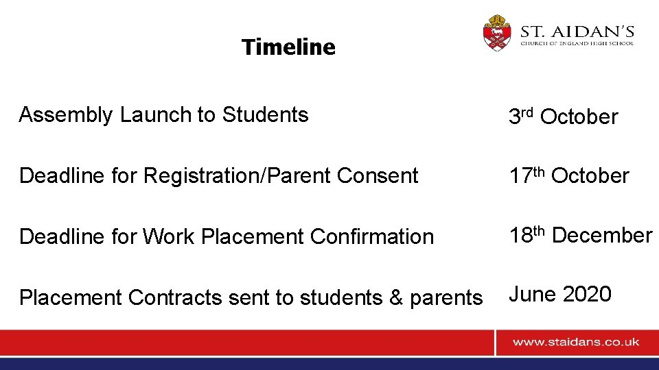 Timeline Assembly Launch to Students 3 rd October Deadline for Registration/Parent Consent 17 th