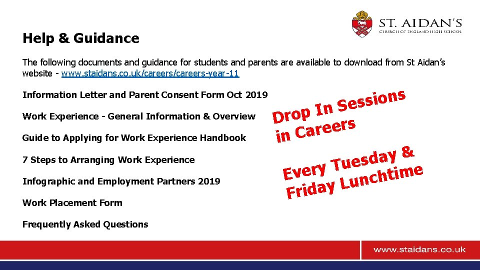Help & Guidance The following documents and guidance for students and parents are available