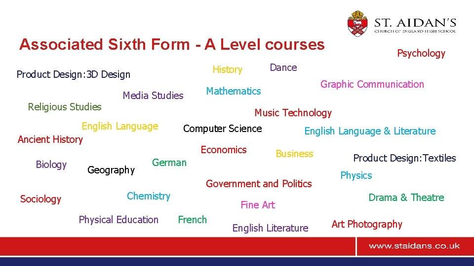 Associated Sixth Form - A Level courses Religious Studies Graphic Communication Mathematics Media Studies