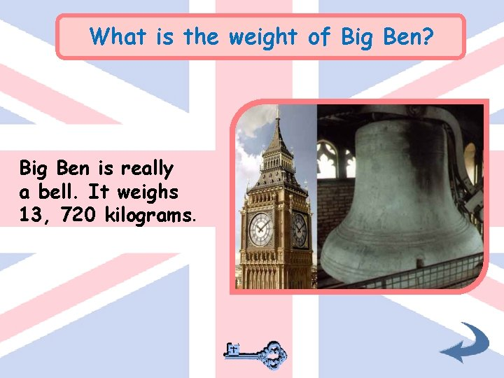 What is the weight of Big Ben? Big Ben is really a bell. It
