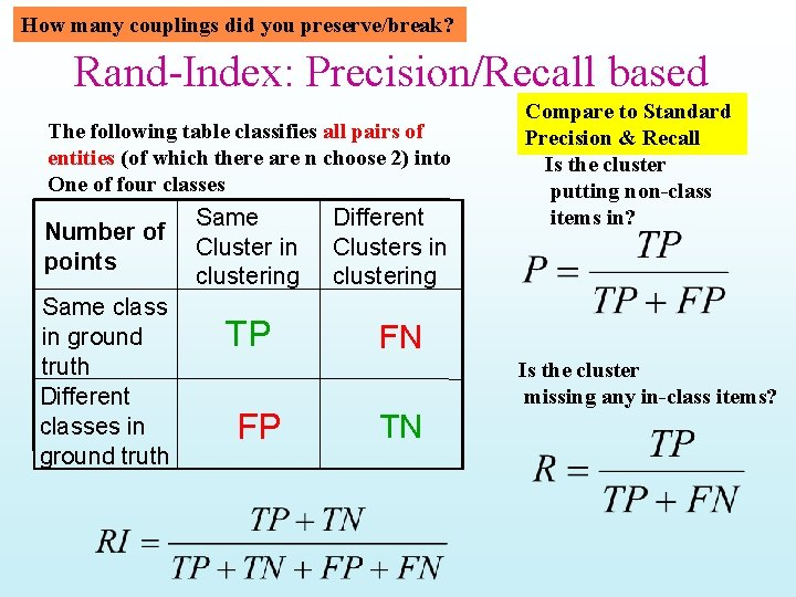 How many couplings did you preserve/break? Rand-Index: Precision/Recall based The following table classifies all