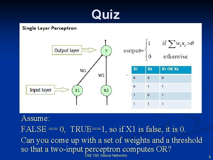 Quiz X 1 X 2 X 1 OR X 2 0 0 1 1