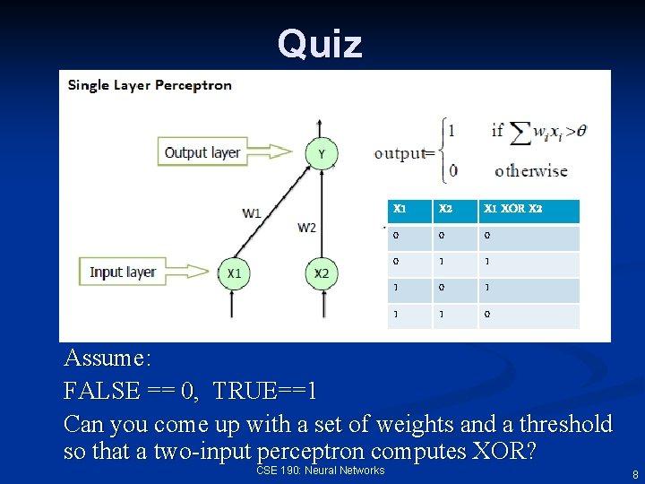 Quiz X 1 X 2 X 1 XOR X 2 0 0 1 1