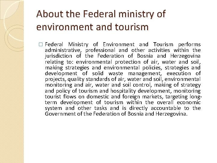 About the Federal ministry of environment and tourism � Federal Ministry of Environment and