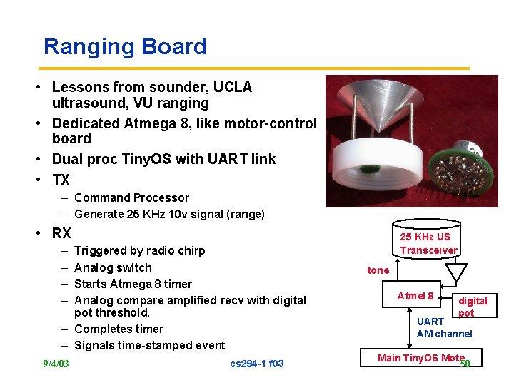Ranging Board • Lessons from sounder, UCLA ultrasound, VU ranging • Dedicated Atmega 8,