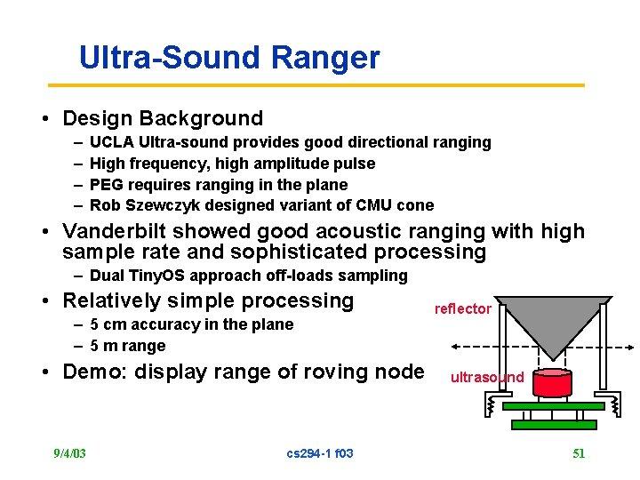 Ultra-Sound Ranger • Design Background – – UCLA Ultra-sound provides good directional ranging High