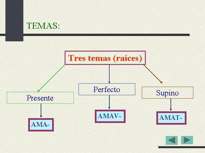 TEMAS: Tres temas (raíces) Presente Perfecto AMAV- AMA- Supino AMAT-