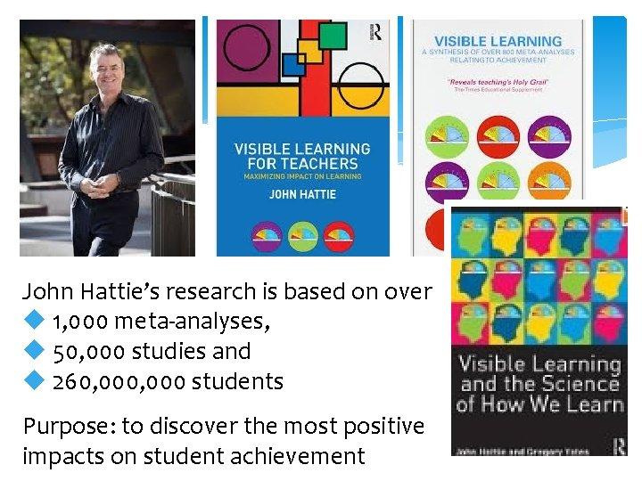 John Hattie's research is based on over u 1, 000 meta-analyses, u 50, 000