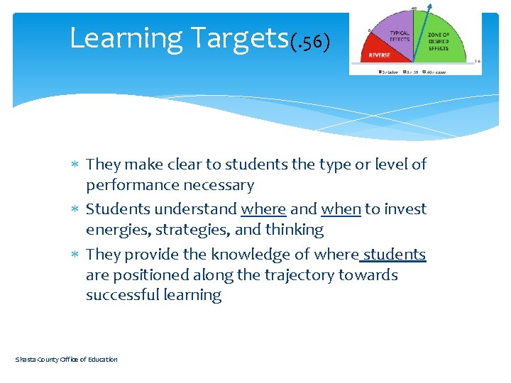 Learning Targets(. 56) They make clear to students the type or level of performance