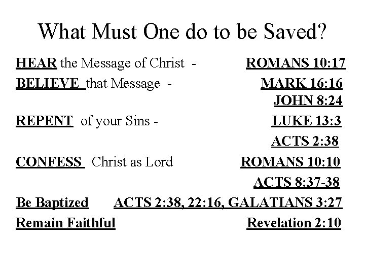What Must One do to be Saved? HEAR the Message of Christ BELIEVE that