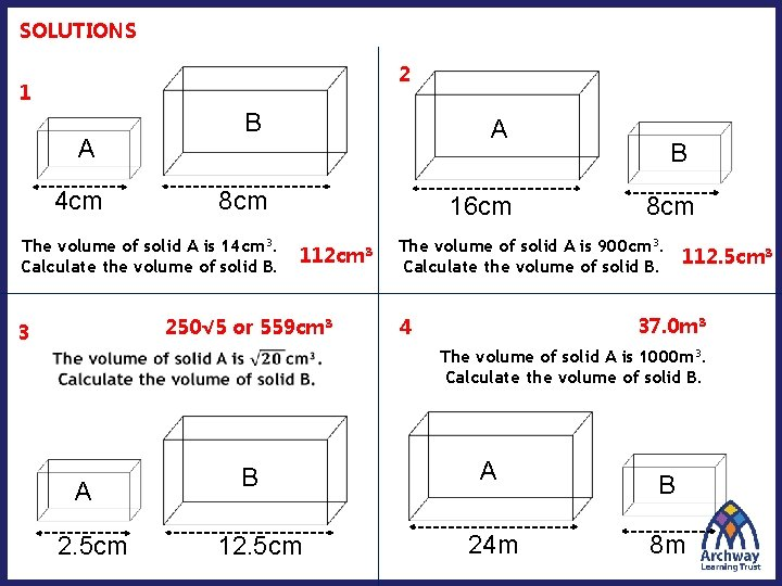 SOLUTIONS 2 1 A 4 cm B A 8 cm The volume of solid