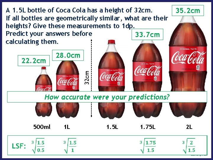 A 1. 5 L bottle of Coca Cola has a height of 32 cm.