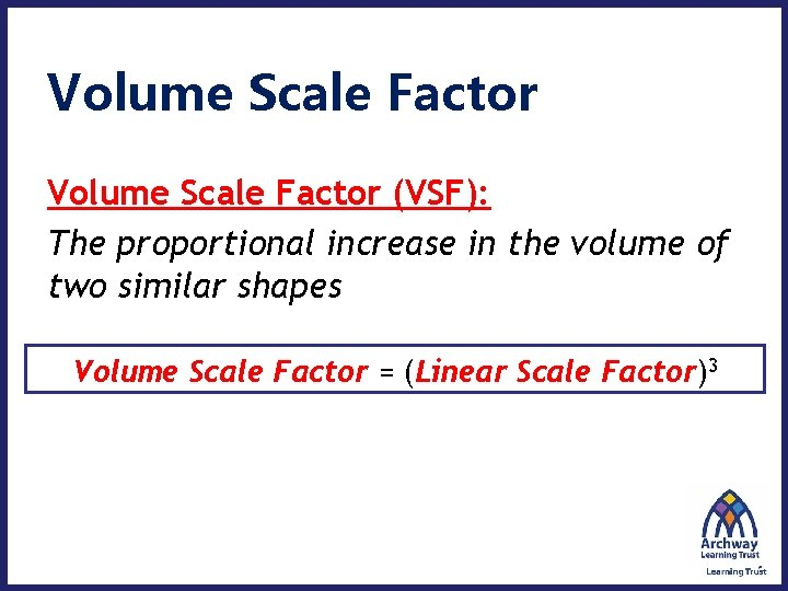 Volume Scale Factor (VSF): The proportional increase in the volume of two similar shapes