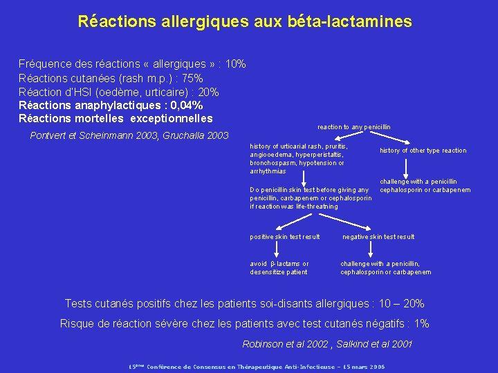Réactions allergiques aux béta-lactamines Fréquence des réactions « allergiques » : 10% Réactions cutanées