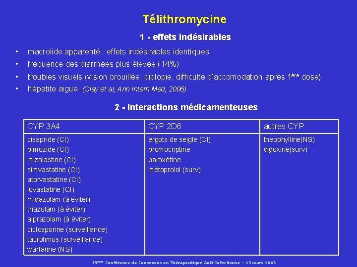 Télithromycine 1 - effets indésirables • macrolide apparenté : effets indésirables identiques • fréquence