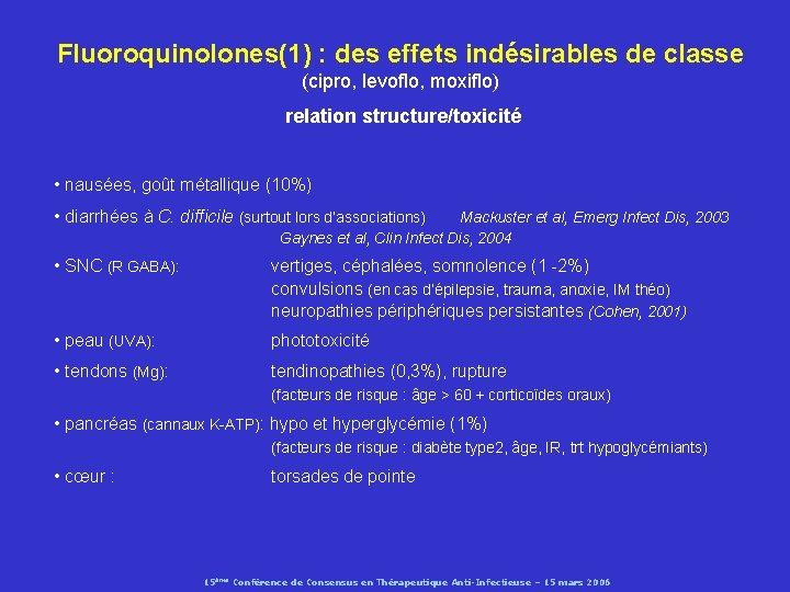 Fluoroquinolones(1) : des effets indésirables de classe (cipro, levoflo, moxiflo) relation structure/toxicité • nausées,