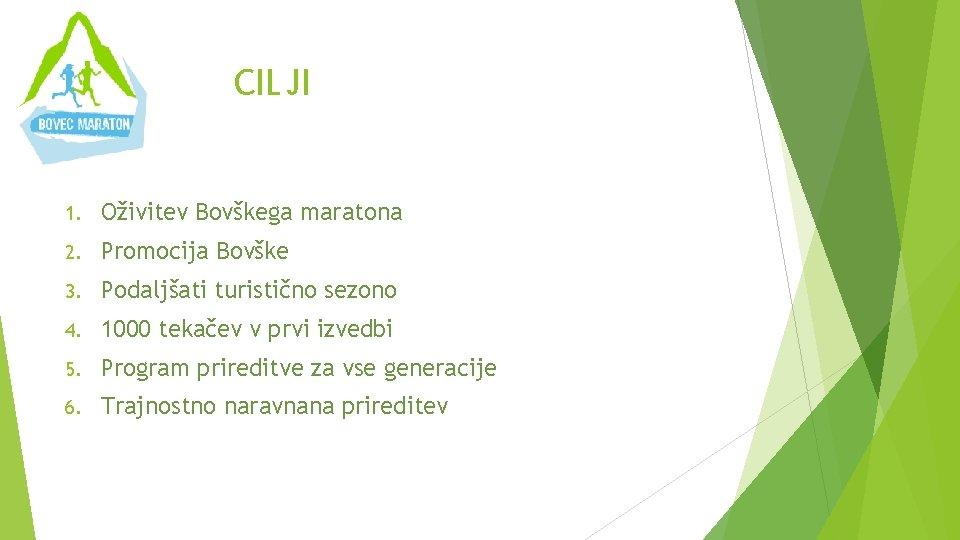 CILJI 1. Oživitev Bovškega maratona 2. Promocija Bovške 3. Podaljšati turistično sezono 4. 1000