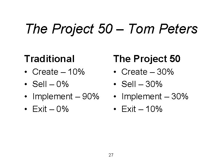 The Project 50 – Tom Peters Traditional The Project 50 • • Create –