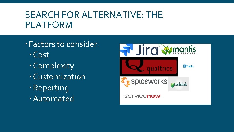 SEARCH FOR ALTERNATIVE: THE PLATFORM Factors to consider: Cost Complexity Customization Reporting Automated