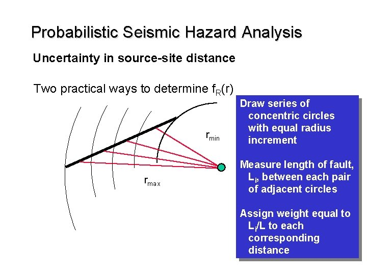 Probabilistic Seismic Hazard Analysis Uncertainty in source-site distance Two practical ways to determine f.