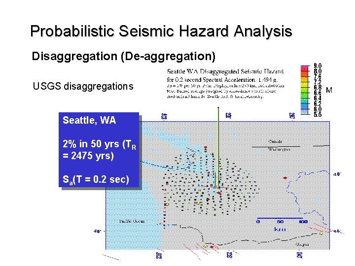Probabilistic Seismic Hazard Analysis Disaggregation (De-aggregation) USGS disaggregations Seattle, WA 2% in 50 yrs