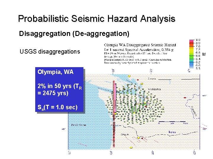 Probabilistic Seismic Hazard Analysis Disaggregation (De-aggregation) USGS disaggregations Olympia, WA 2% in 50 yrs
