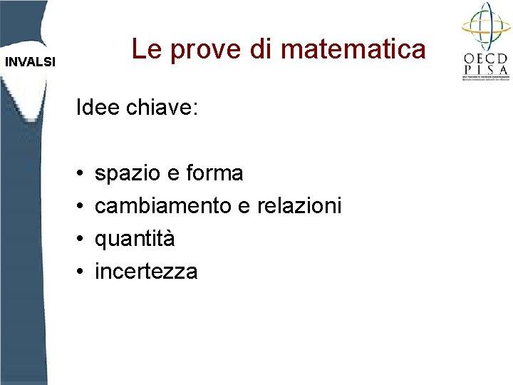 Le prove di matematica INVALSI Idee chiave: • • spazio e forma cambiamento e