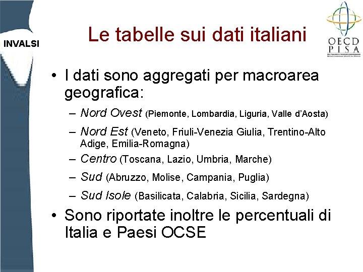 INVALSI Le tabelle sui dati italiani • I dati sono aggregati per macroarea geografica: