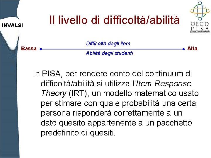 Il livello di difficoltà/abilità INVALSI Bassa Difficoltà degli item Abilità degli studenti Alta In