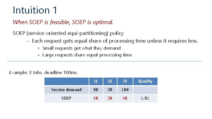 Intuition 1 When SOEP is feasible, SOEP is optimal. SOEP (service-oriented equi-partitioning) policy –